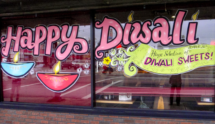 Window Painting for All India Sweets, Vancouver