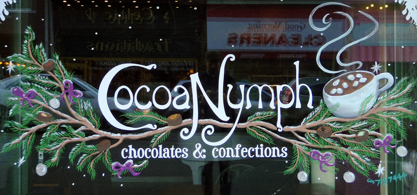 Window Painting for Cocoa Nymph Chocolates, Vancouver