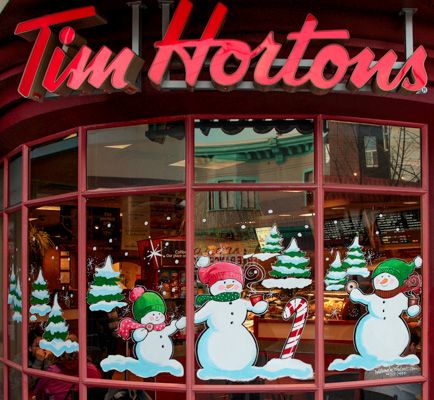 Window Painting for Tim Hortons, Vancouver