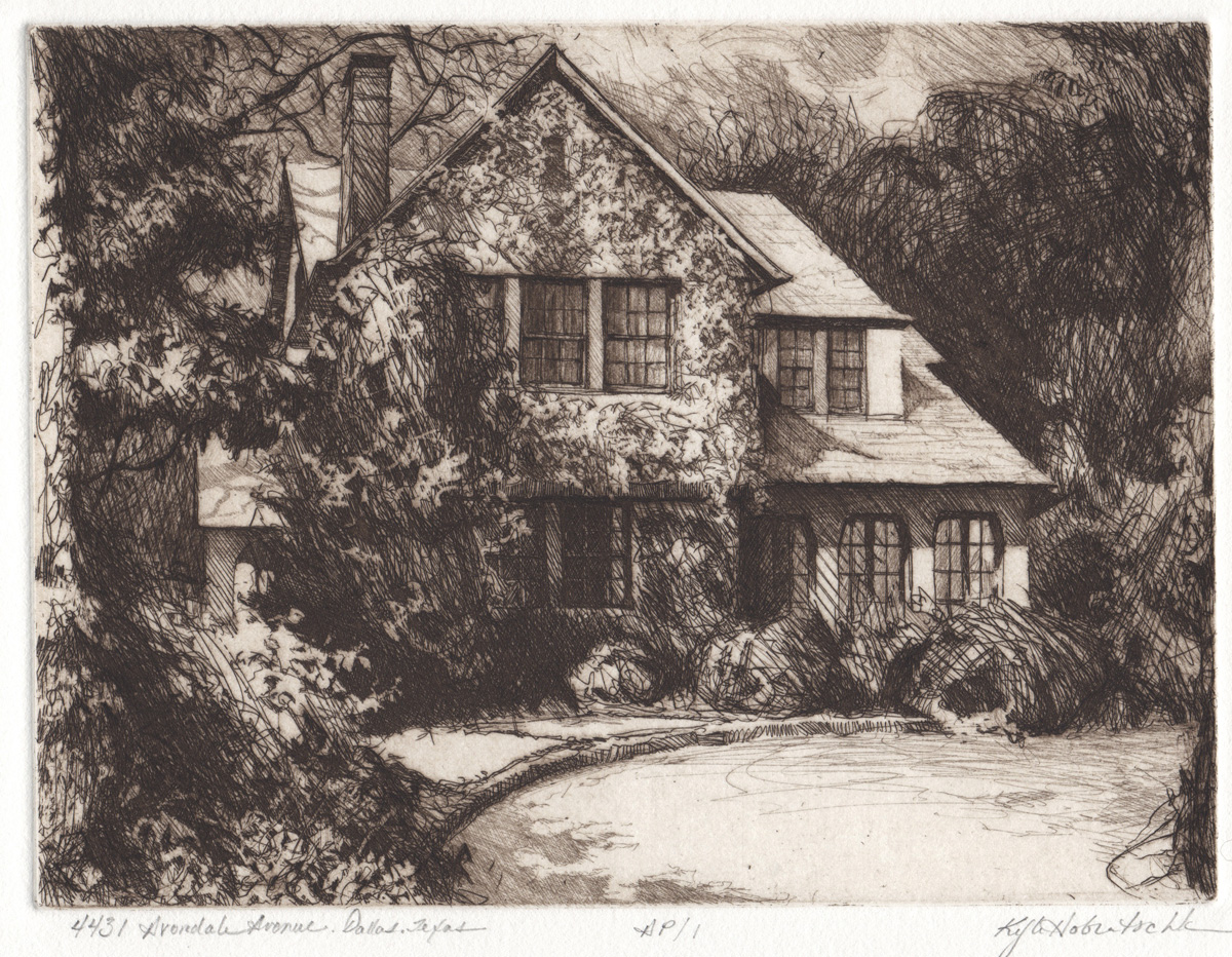 Line etching of Dallas residence