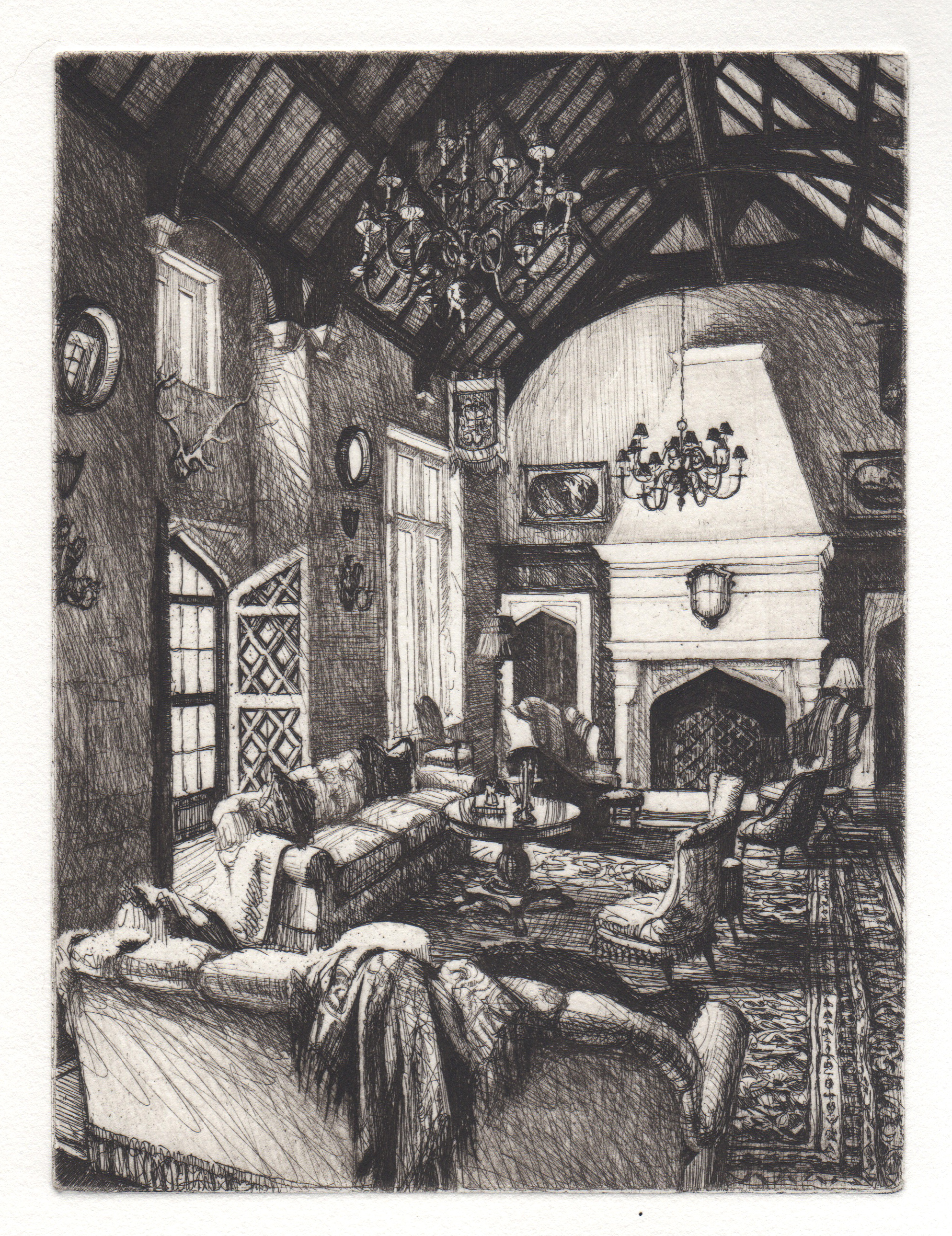Line etching of interior of Dallas residence
