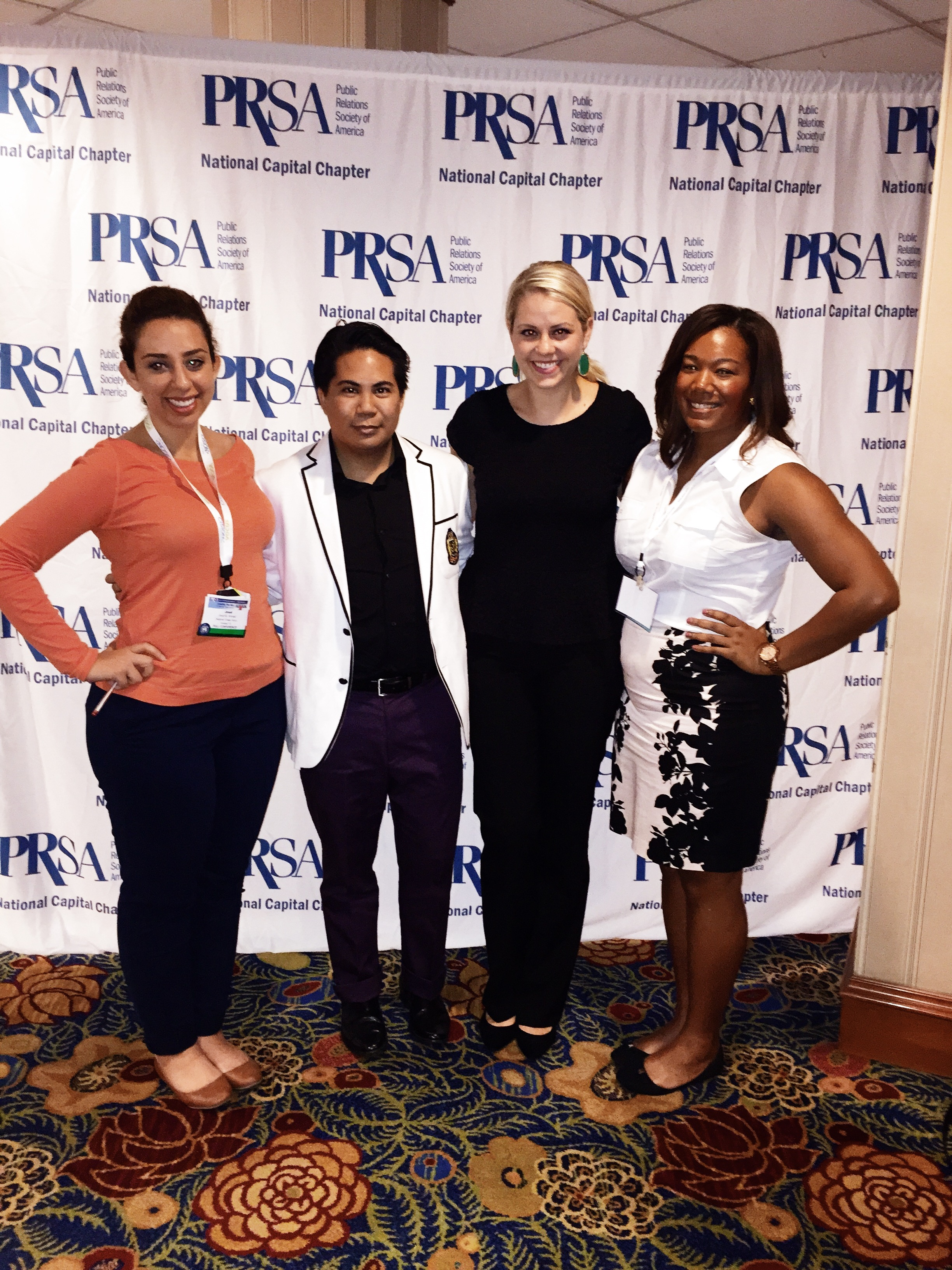Joud Ahmad, Gemrick Curtom, Angela Austin and Alexandria Sauls after a PRSA General Session.