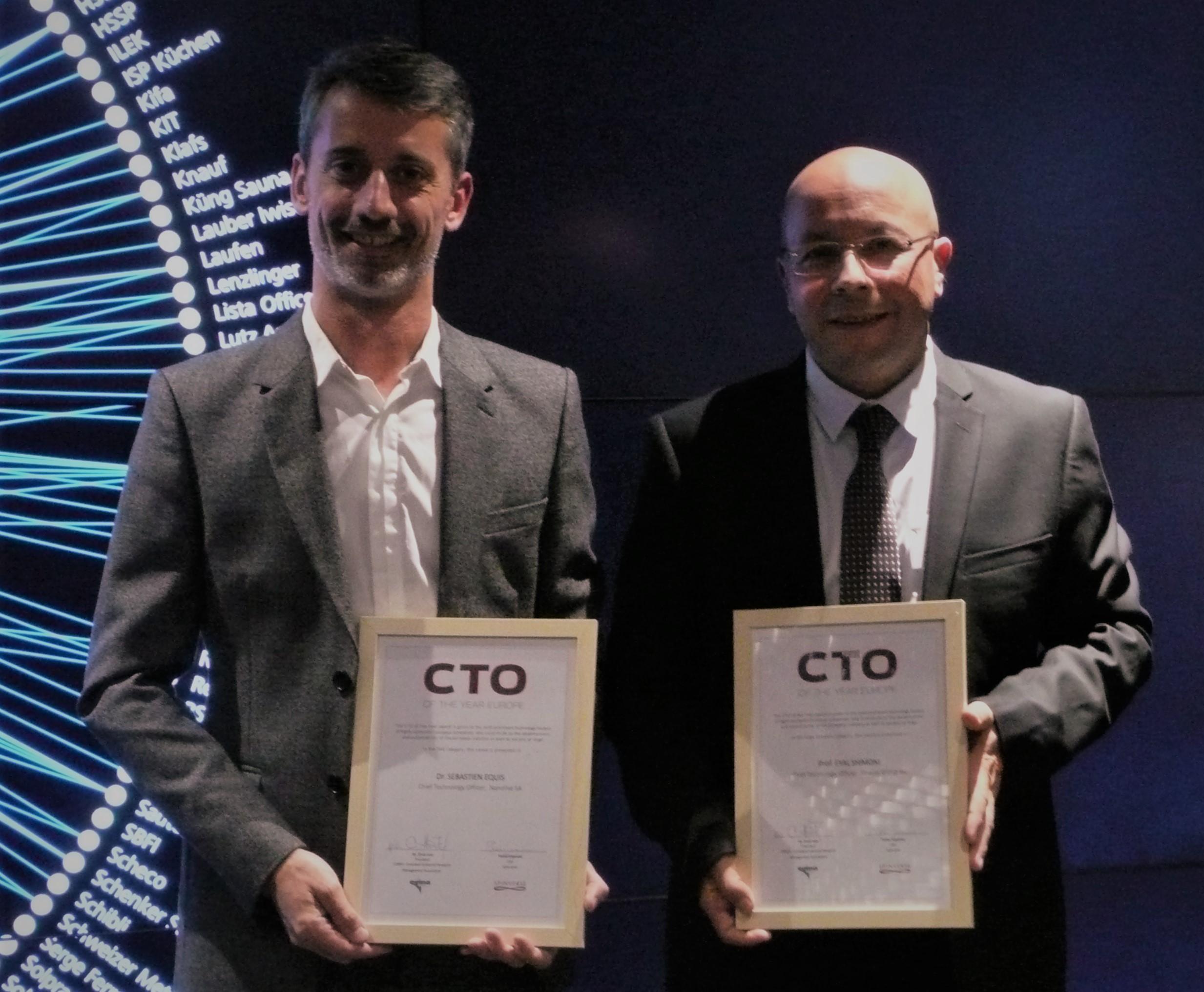 Sebastien Equis (European CTO of the Year 2017, Nanolive) and Eyal Shimoni (European CTO of the Year 2017, Strauss Group)