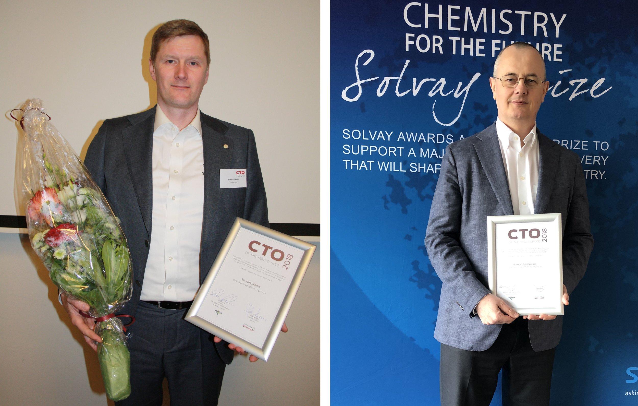 Juha Salmela (European CTO of the Year 2018, Spinnova) and Nicolas Cudré-Mauroux (European CTO of the Year 2018, Solvay)