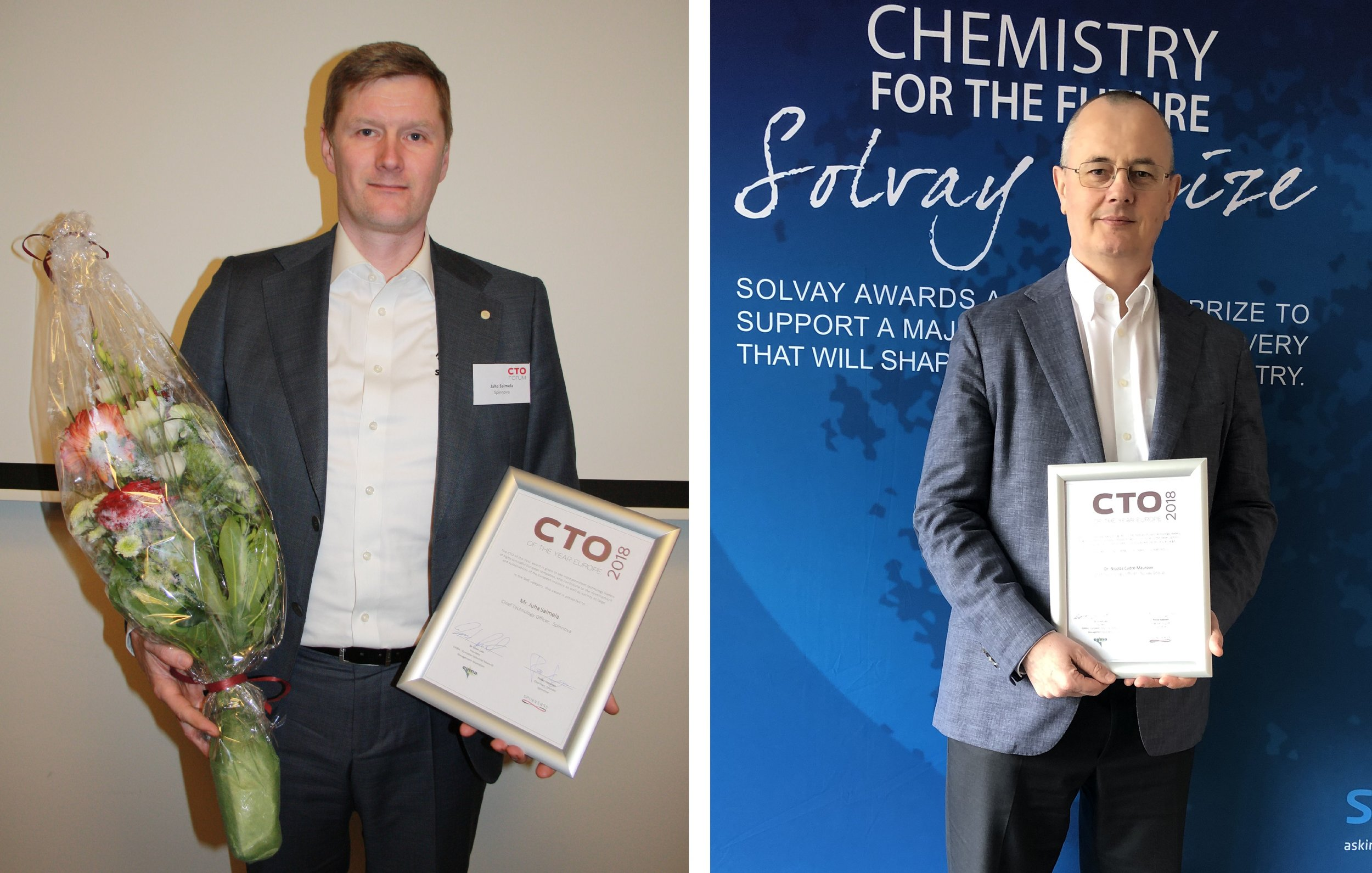 Juha Salmela (European CTO of the Year 2018, Spinnova) and Nicolas Cudré-Mauroux (European CTO of the Year 2018, Solvay)