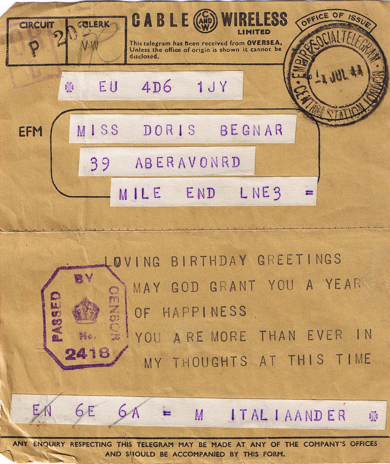 Birthday telegram to Doris