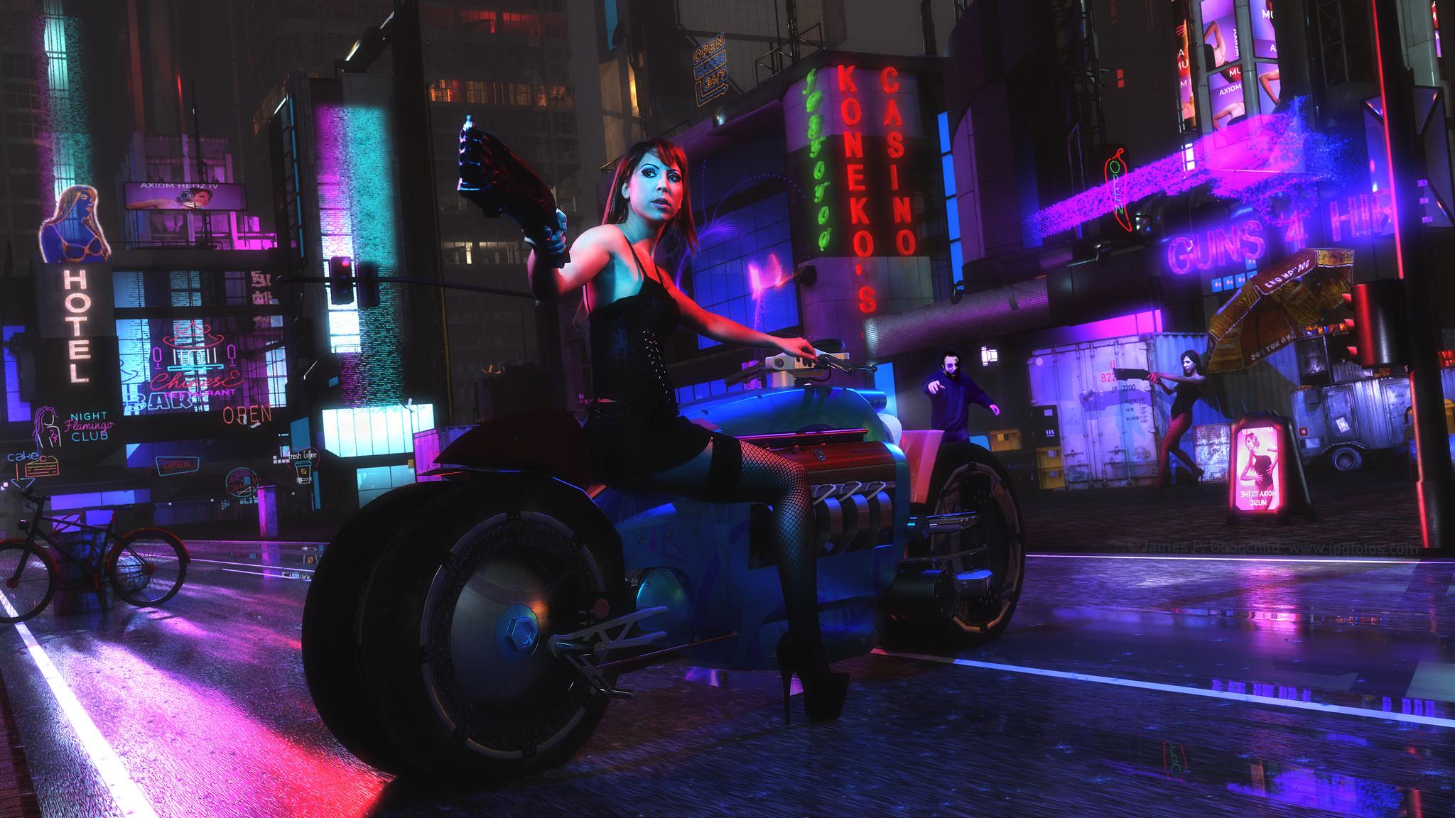 Cyberpunk Street Scene