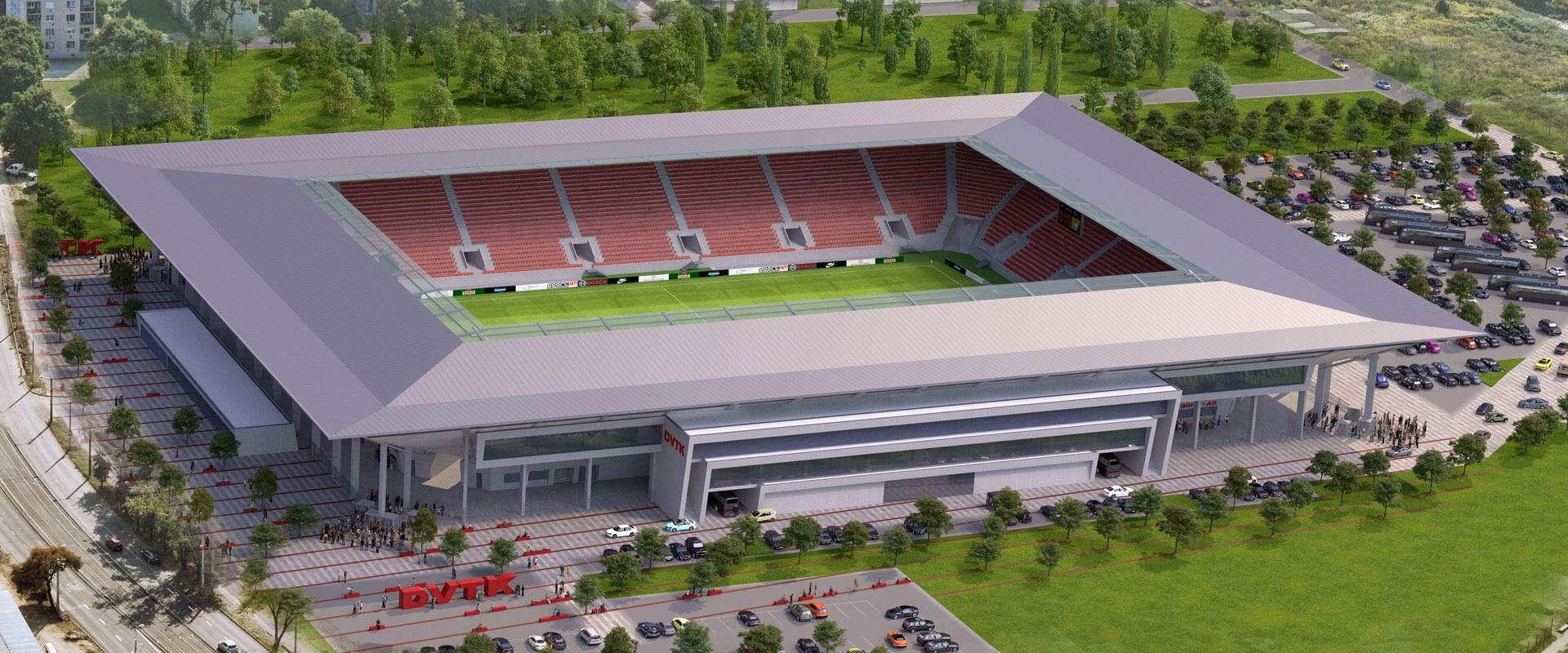 Diósgyőri DVTK Stadion - világításvezérlés, fogyasztásmérés, vizualizáció, kommunikáció épületfelügyelettel