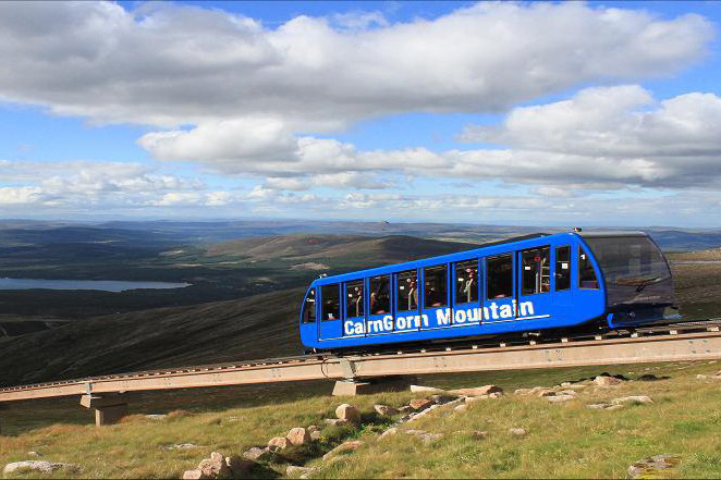 Cairngorms mountain funicular railway   Opened in 2001, the railway transports visitors to the Ptarmigan Top Station, situated just below the summit of Cairngorm. With viewing terraces, a panoramic restaurant and a mountain exhibition, it truly is a Highland experience.   Tel:  01479 861 261   www.cairngormmountain.co.uk