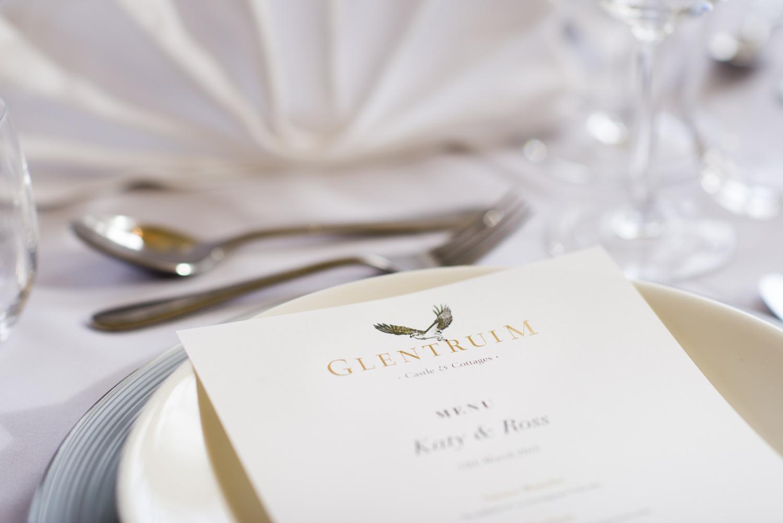 Menu for a Glentruim wedding