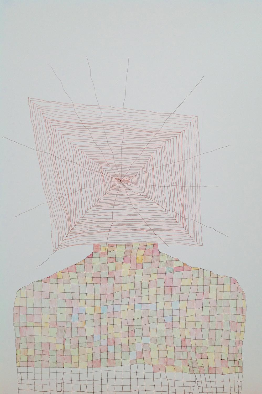 """2014, 20""""x18"""", ink, colored pencilon paper"""