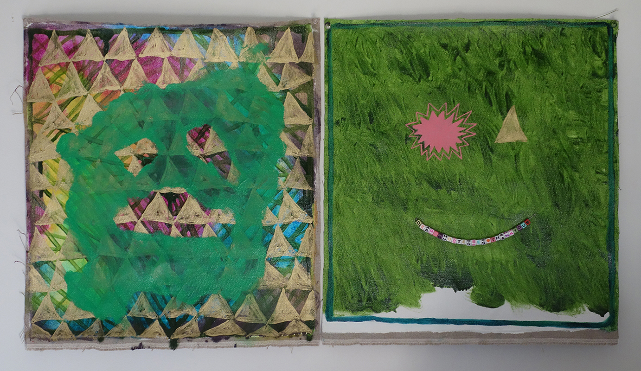 """2014, 19""""x17"""" each, oil, alkyd, bead letters, gesso on unstretched linen"""