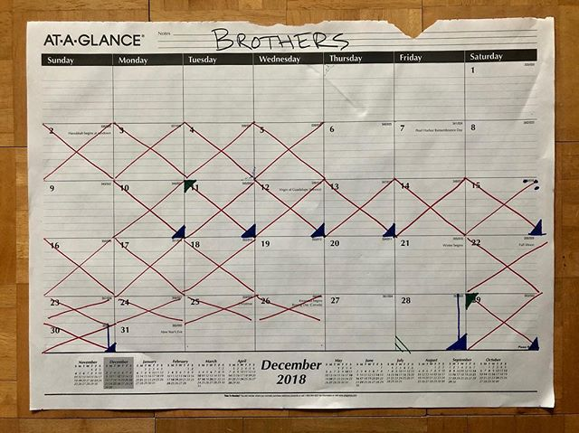 Onto 2019! Working on the edit now, trying to get a very rough cut of the film together by Jan 11. I want to get back to writing music again!! Editing feels like such a slog compared to it. I've started practicing piano seriously towards the end of the month and have added a blue vertical line to represent that.