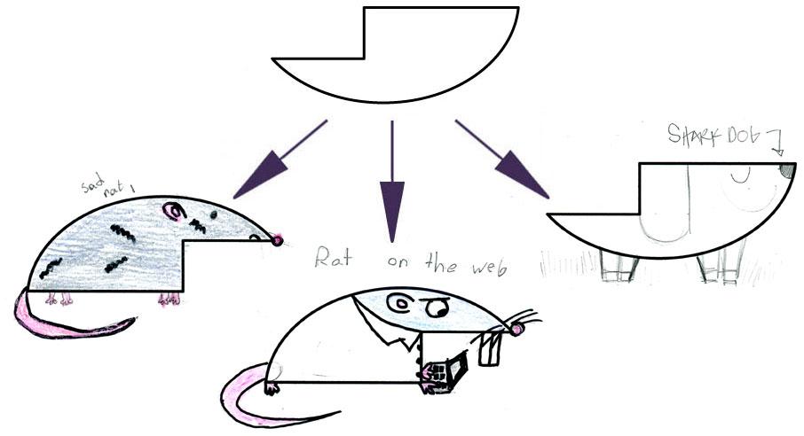 LEFT (SAD RAT), CENTER (RAT ON THE WEB), AMY's ON RIGHT (SHARK DOG)