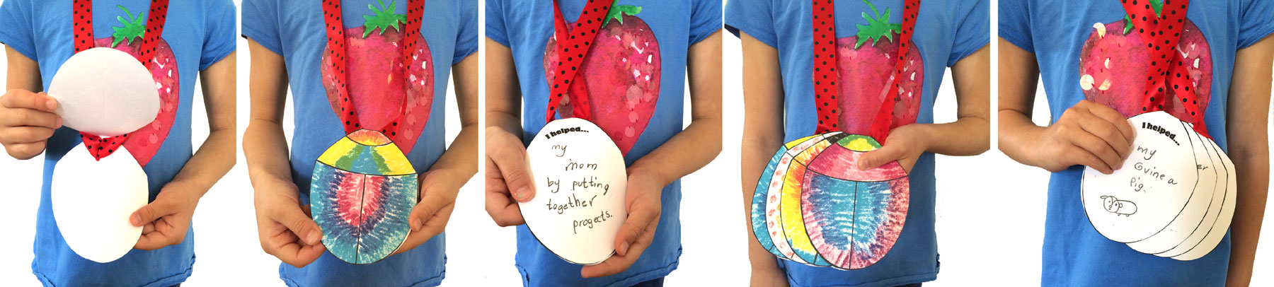This is an image I posted on my FB & Twitter page showing how the necklace can go from holding a single medal to a book of medals.