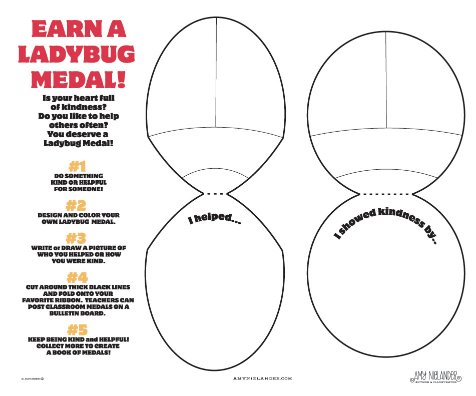 A copy of each Medal type (Helpfulness & Kindness) were on the table for those stopping by.
