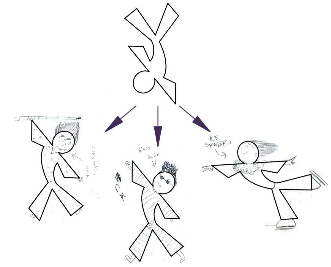 LEFT (ACROBATIC MAN), CENTER (DISCO DUDE), AMY's ON RIGHT (ICE SKATER)
