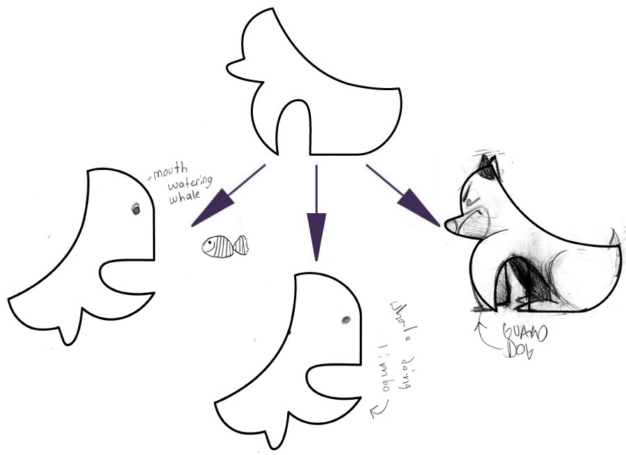 LEFT (MOUTH WATERING WHALE), CENTER (WHALE DOING LIMBO), AMY's ON RIGHT (GUARD DOG)