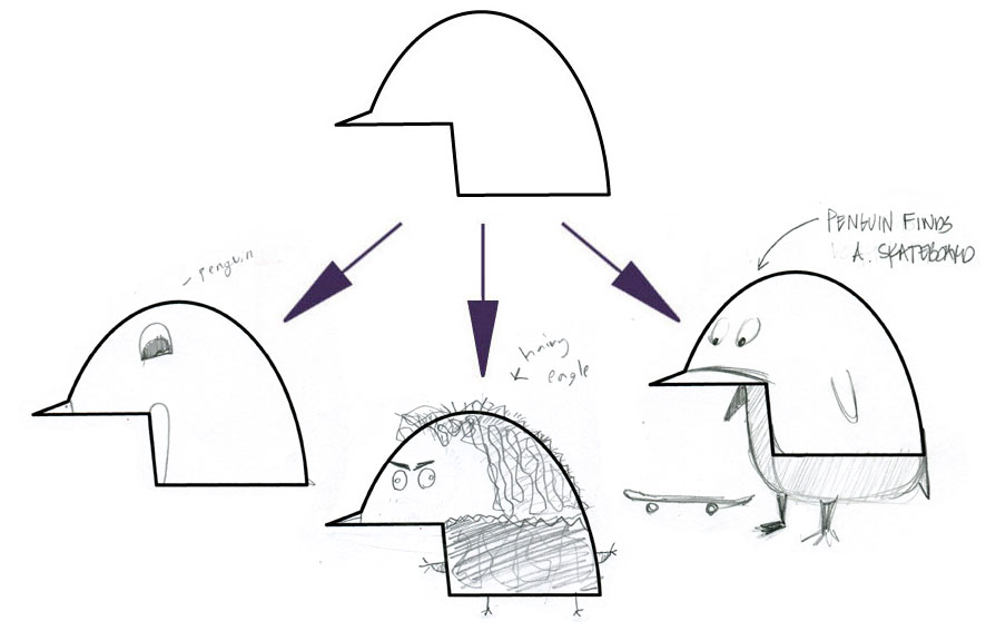 ANNA'S LEFT (PENGUIN), ELLIOT'S CENTER (HAIRY EAGLE), AMY'S RIGHT (PENGUIN FINDS A SKATEBOARD)