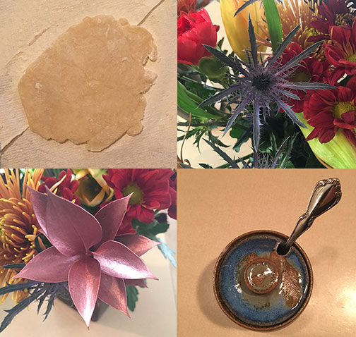 Rolling out dough for yummy pumpkin pie, spiky looking flower, shimmery leaf bouquet filler, and a familiar ceramic sugar pot with cap.