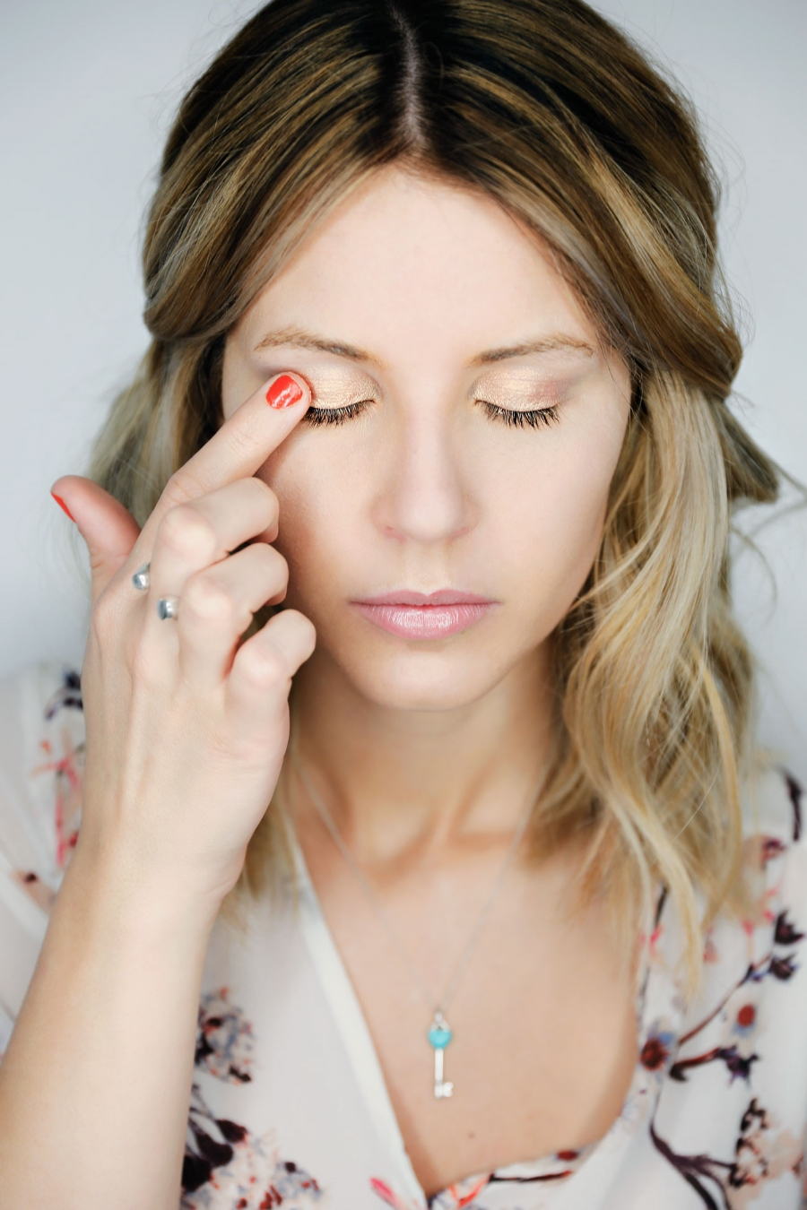 I like to use my finger and just apply to my eyelid. They are so easy and quick to use.