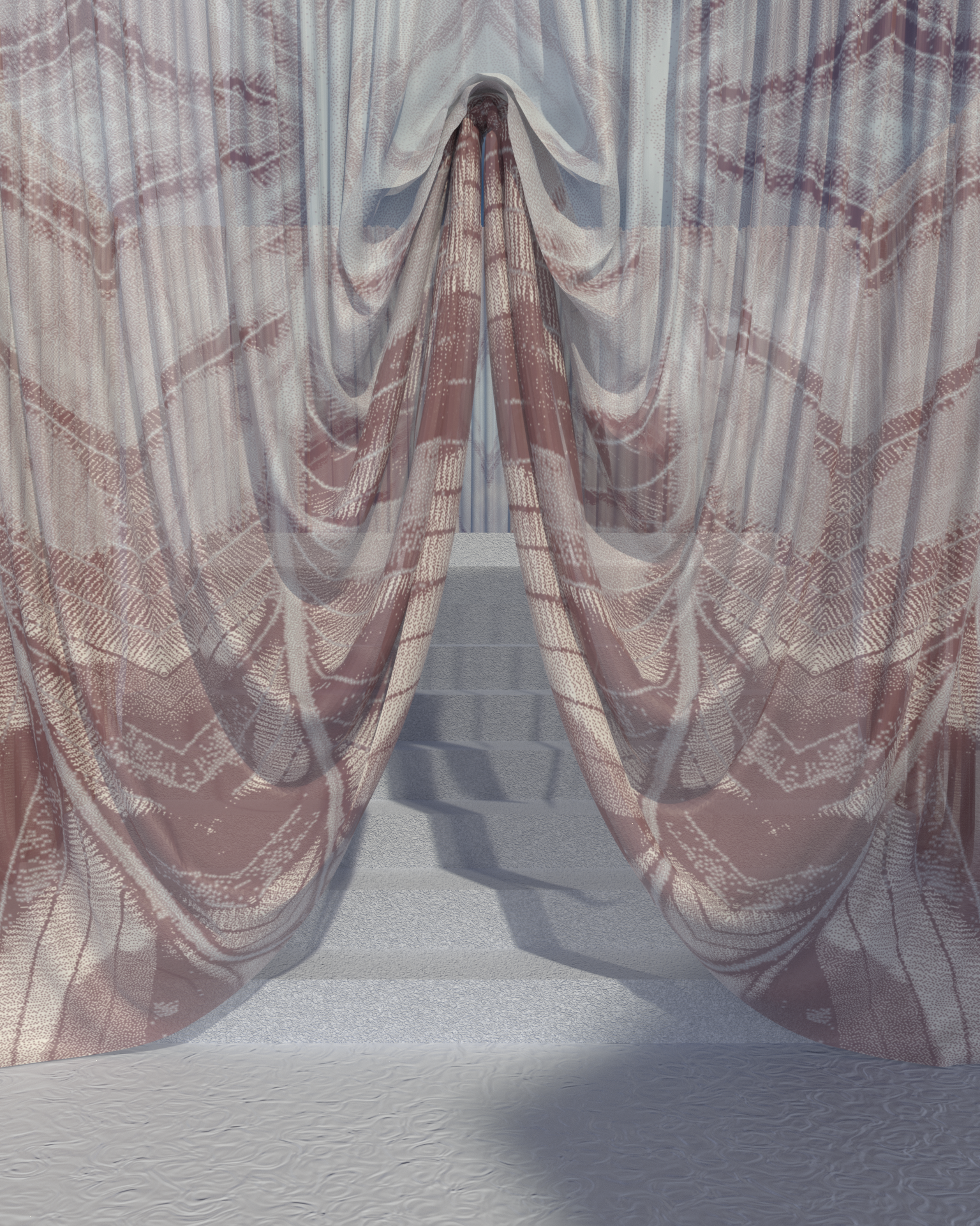 LEEBECCA x EMDAL > COLLAB  Soft & Serene, 3D rederings with Emdal textiles in transparent drapes