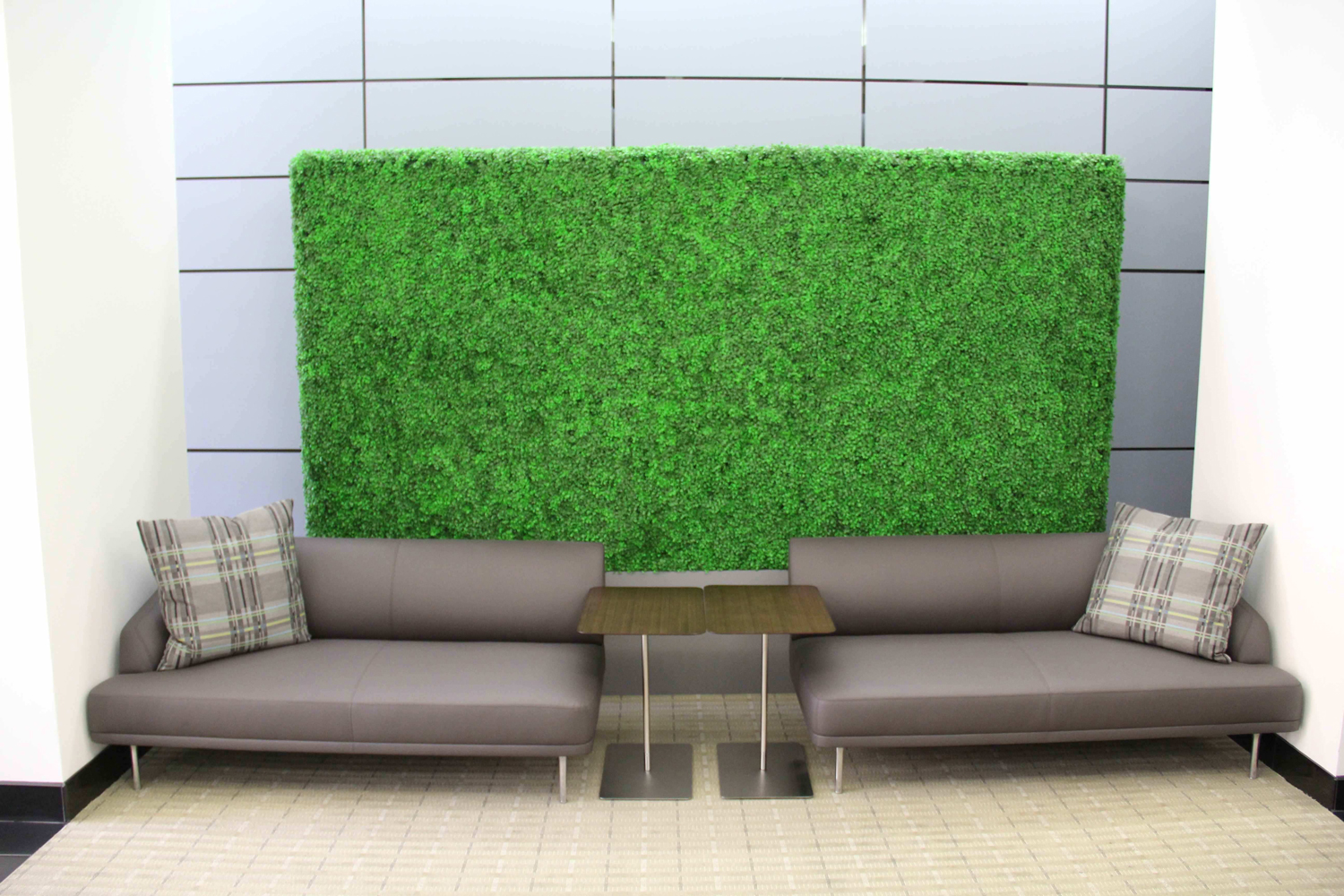 light green hedge panel in business park