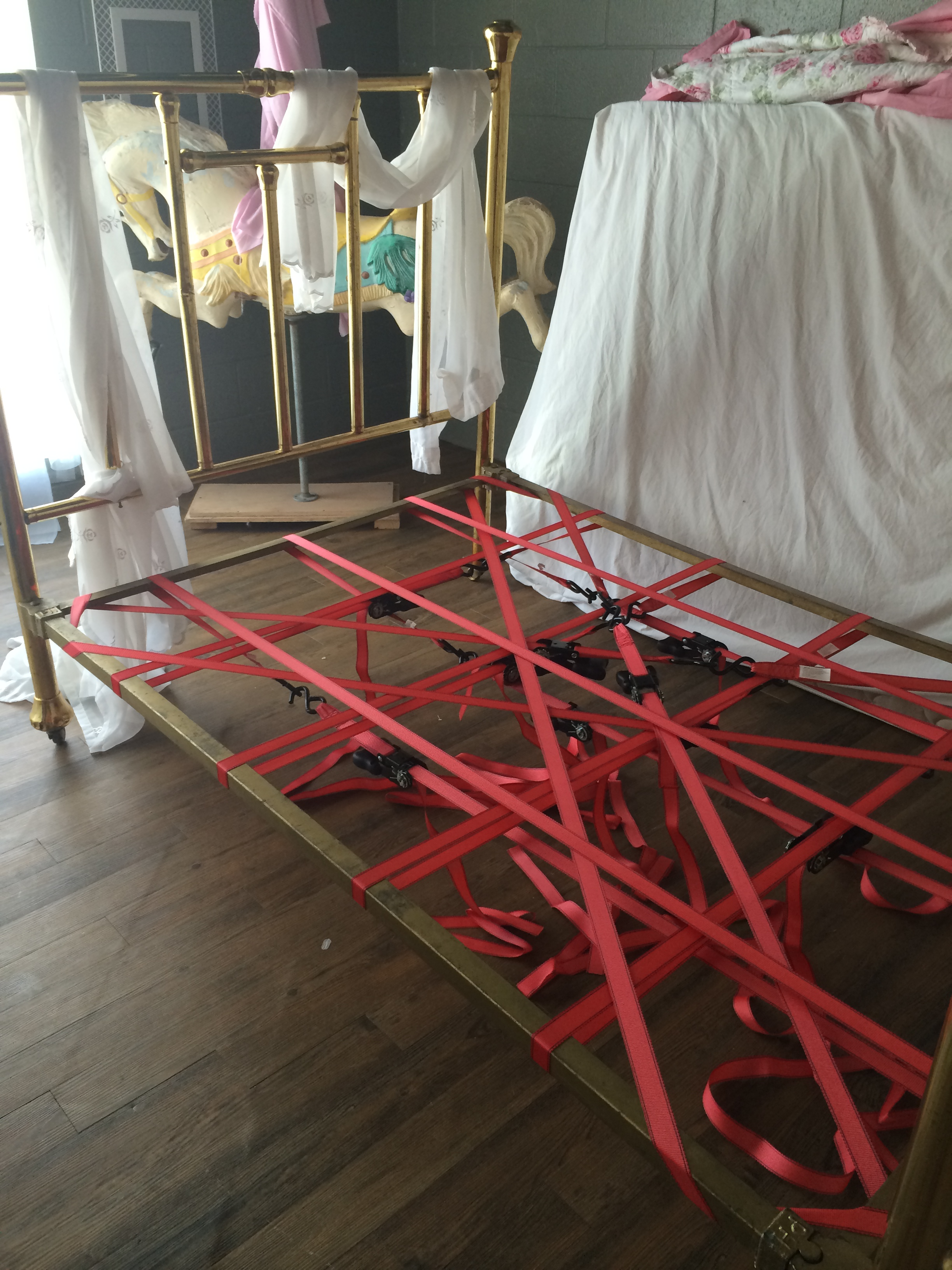 This is how hillbillies fix a vintage brass bed. It didn't have any support and I was short on time. This works perfectly!