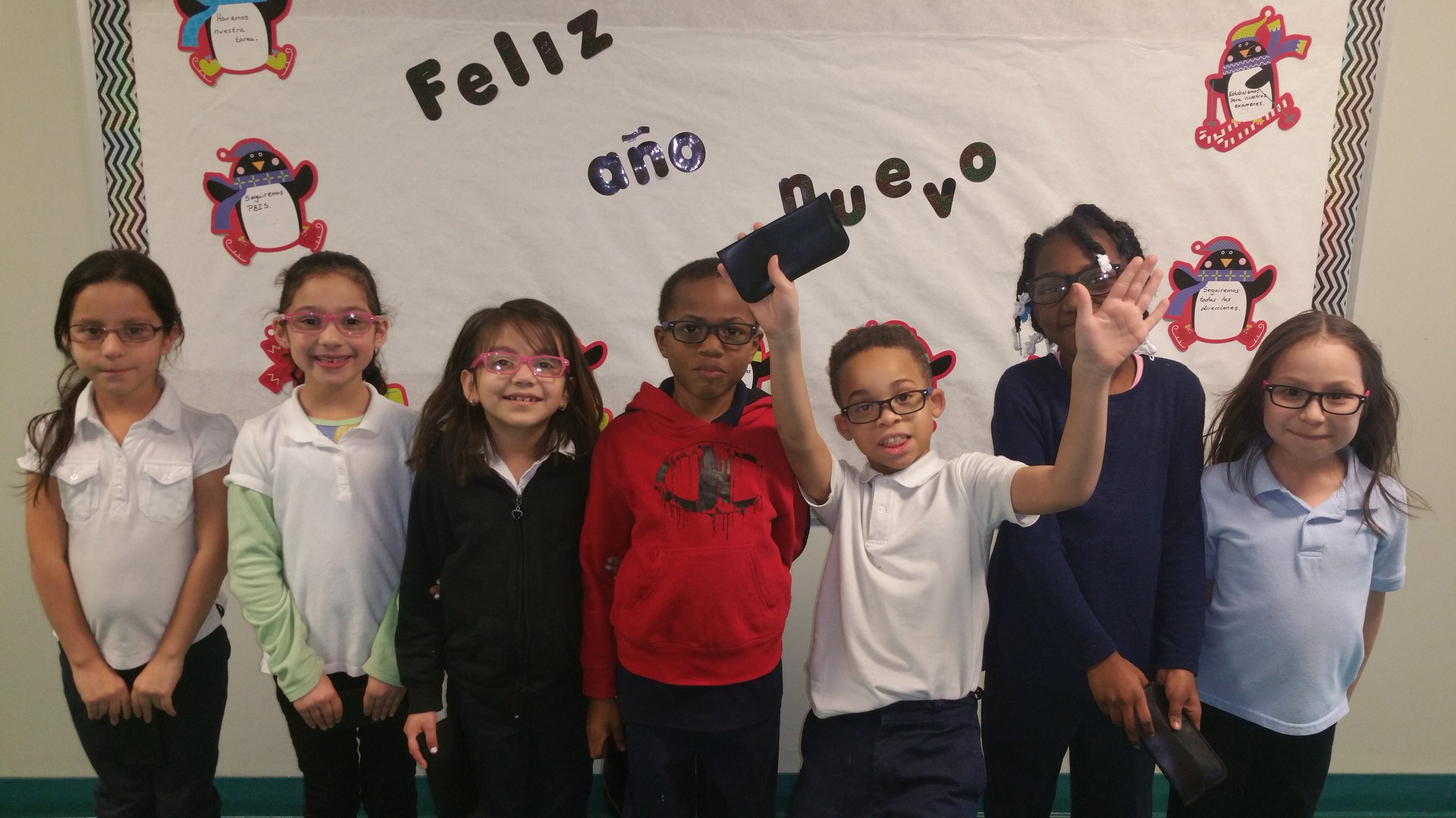Students in Calumet School District 132 with their new eye glasses