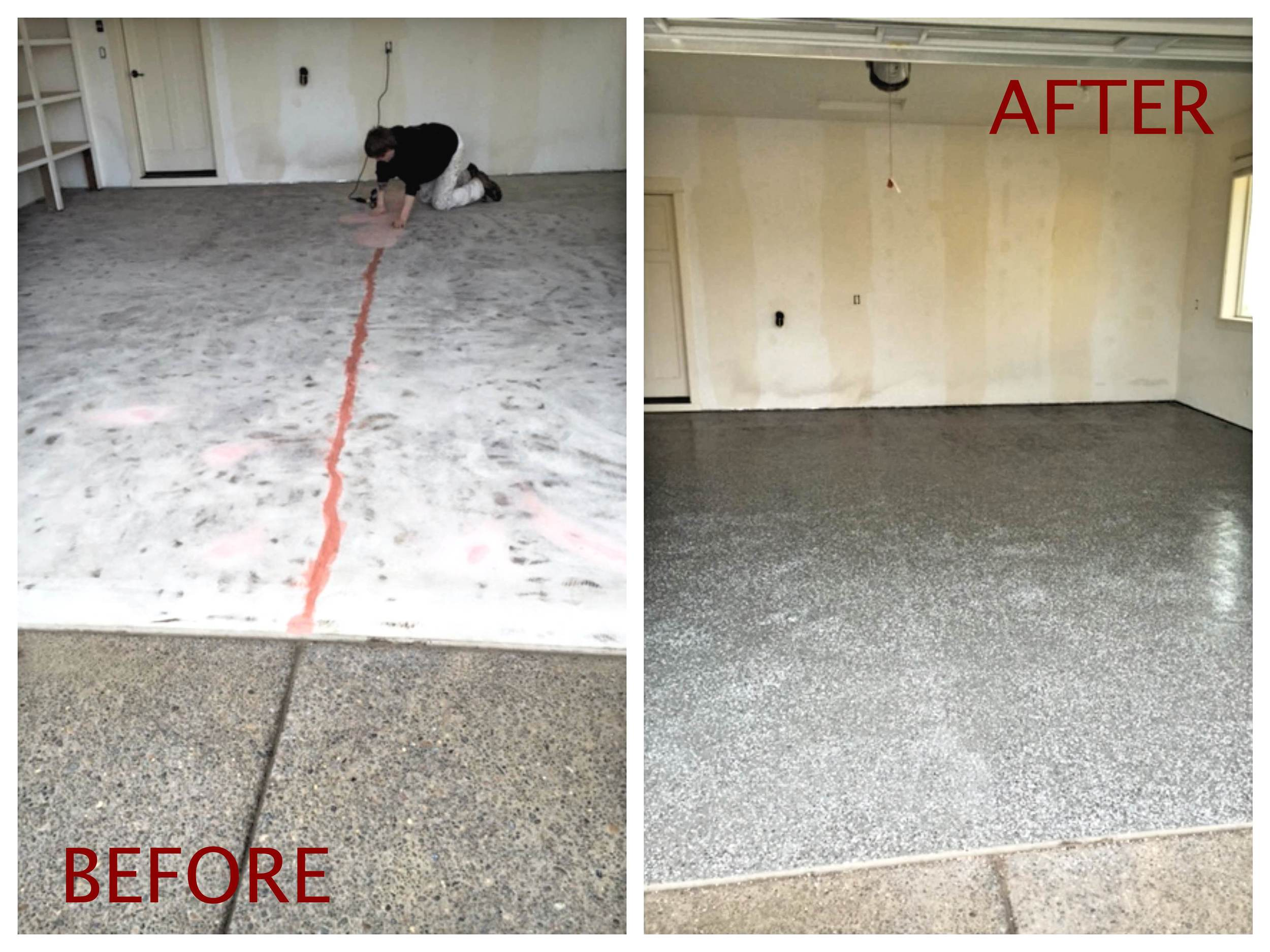 Epoxy Floor Coating - Before and After