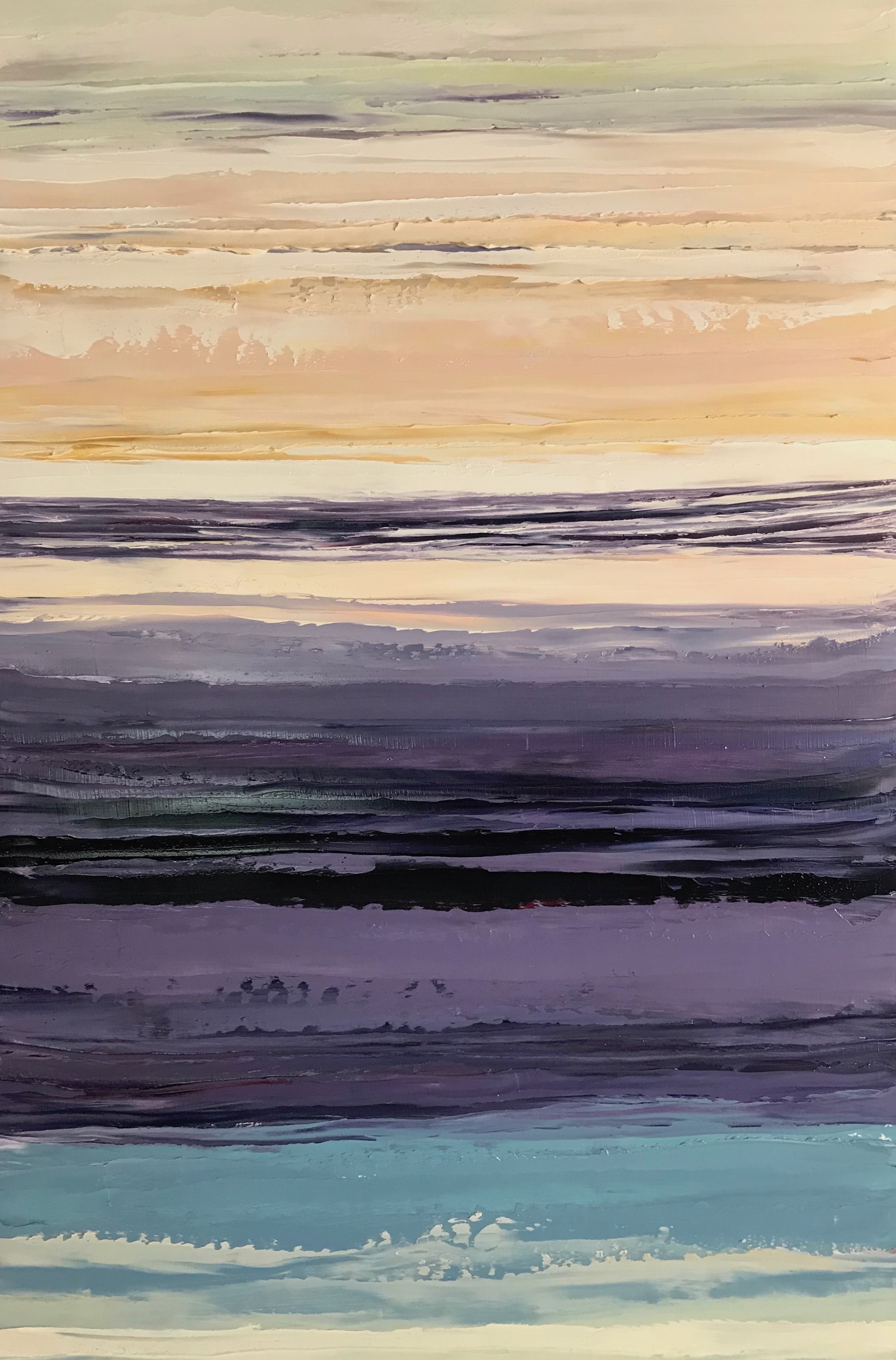 """SOLD """"Wampum Sunset"""" 18x12 inch Oil on Wood"""