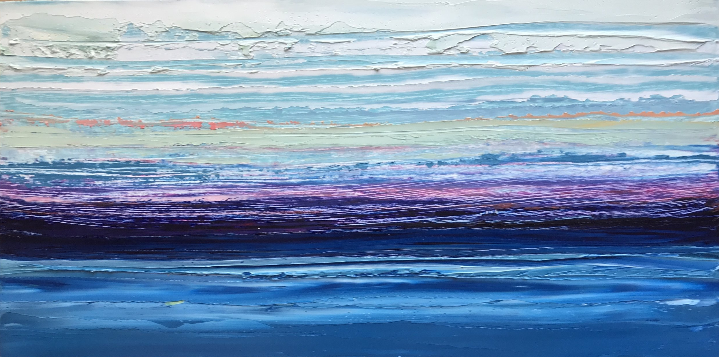 """SOLD """"Sea Meets Sky"""" 6x12 inch Oil on Wood"""