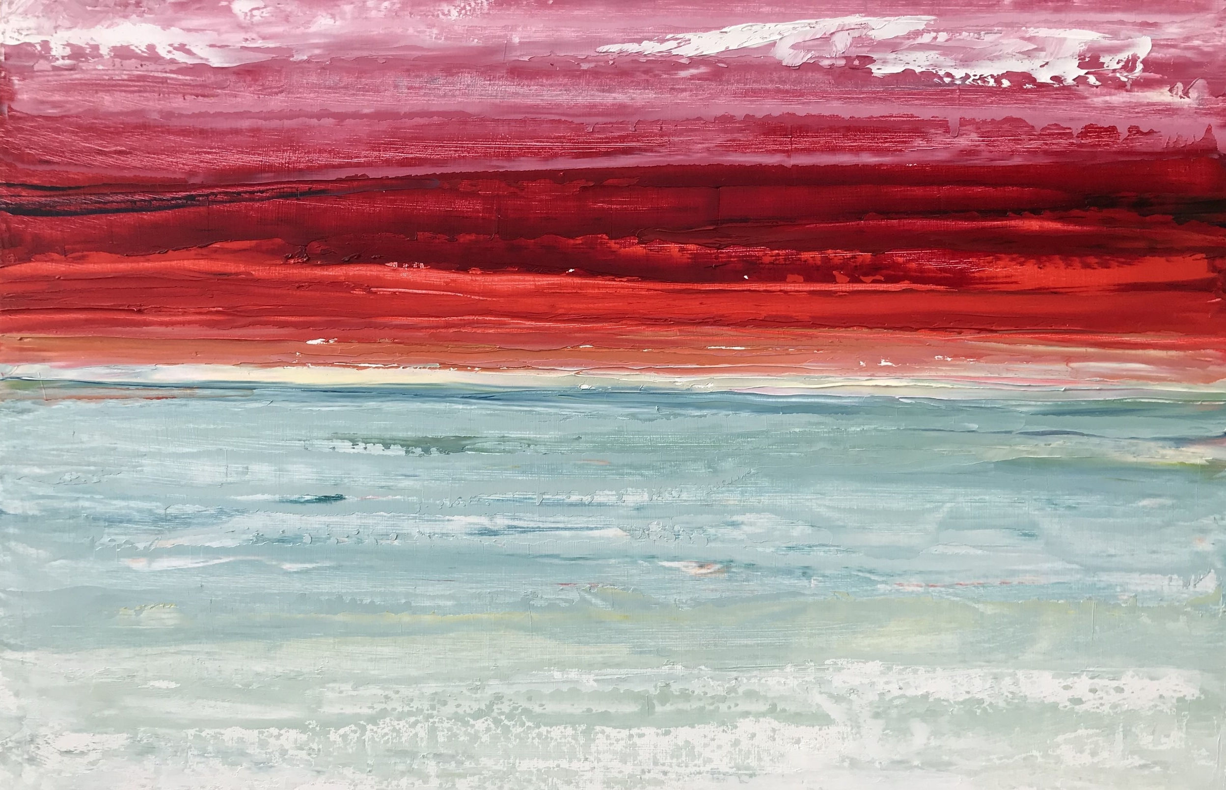 """SOLD """"Red Sunset"""" 12x18 inch Oil on Wood"""
