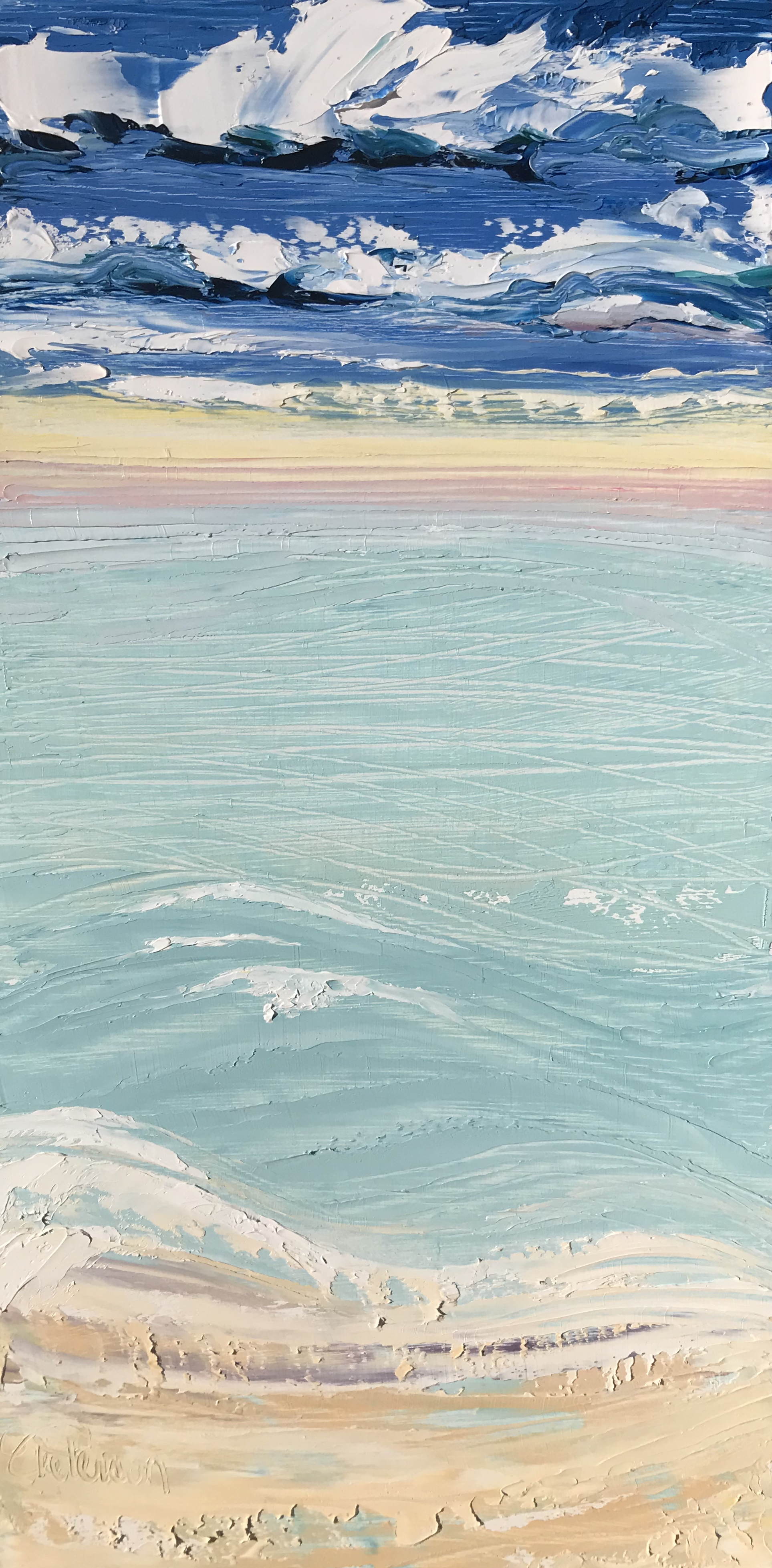 """SOLD """"Sunset Shore"""" 12x6 inch Oil on Wood"""
