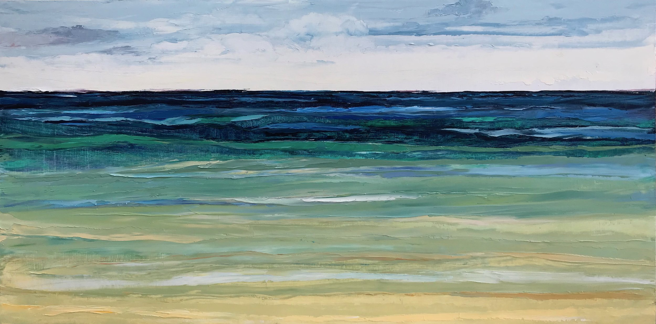 """SOLD """"Tranquil Sea"""" 12x24 inch Oil on Wood"""