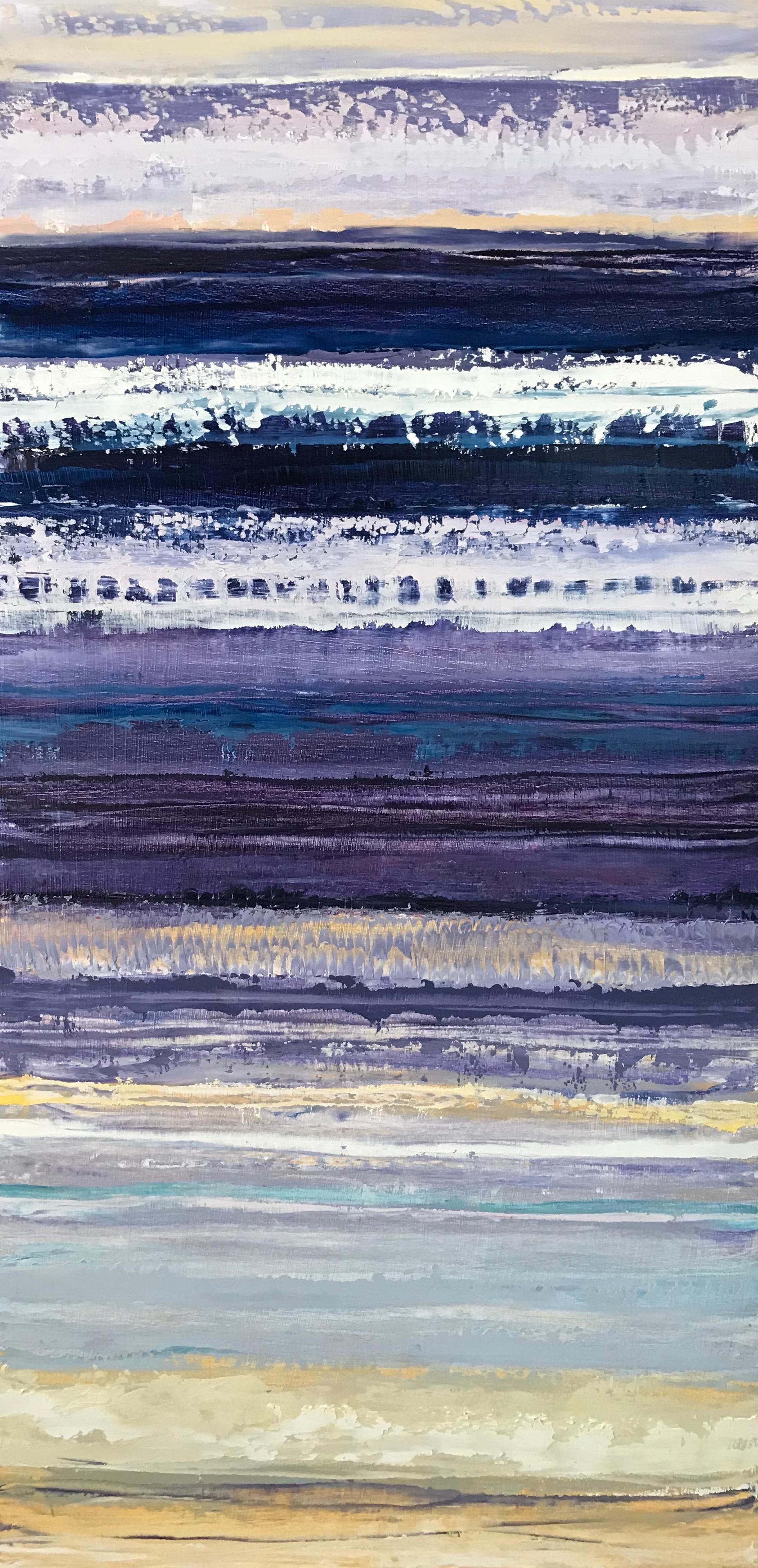 """""""Violet Waves"""" 24x12 Oil on Wood"""