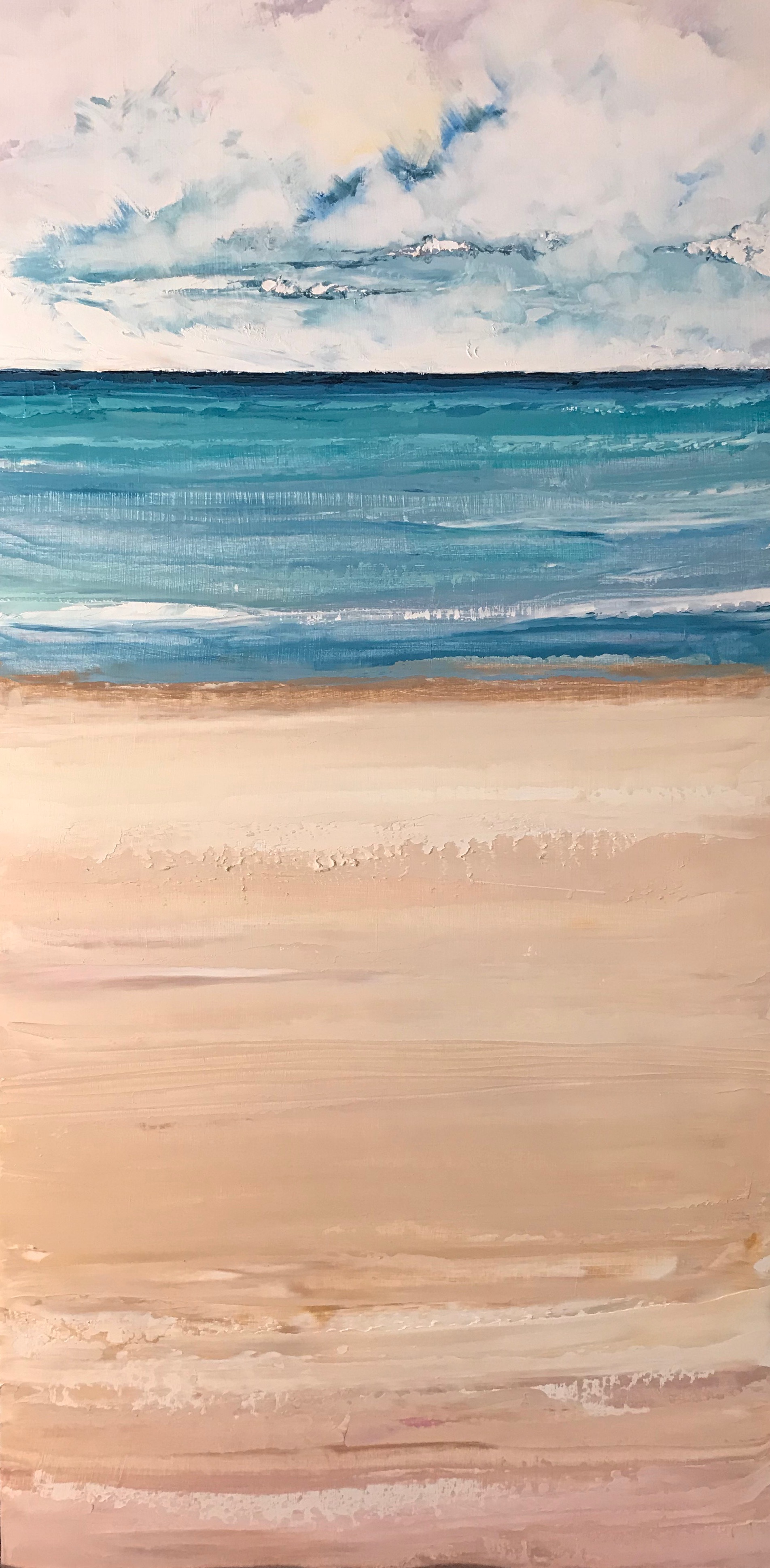 """""""Waiting on Waves"""" 24x12 Oil on Wood"""