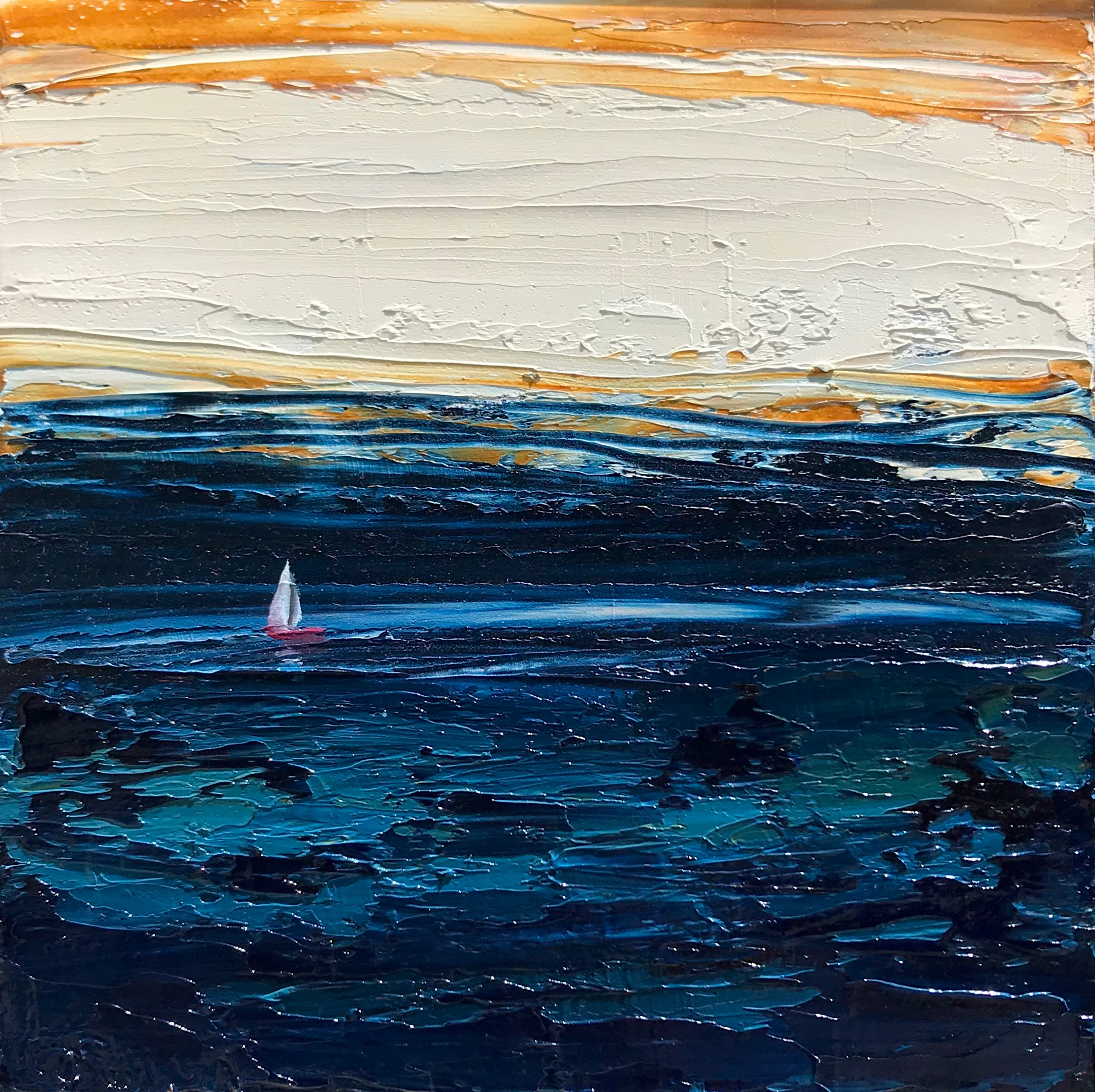 Little Red Sailboat in the Churning Sea