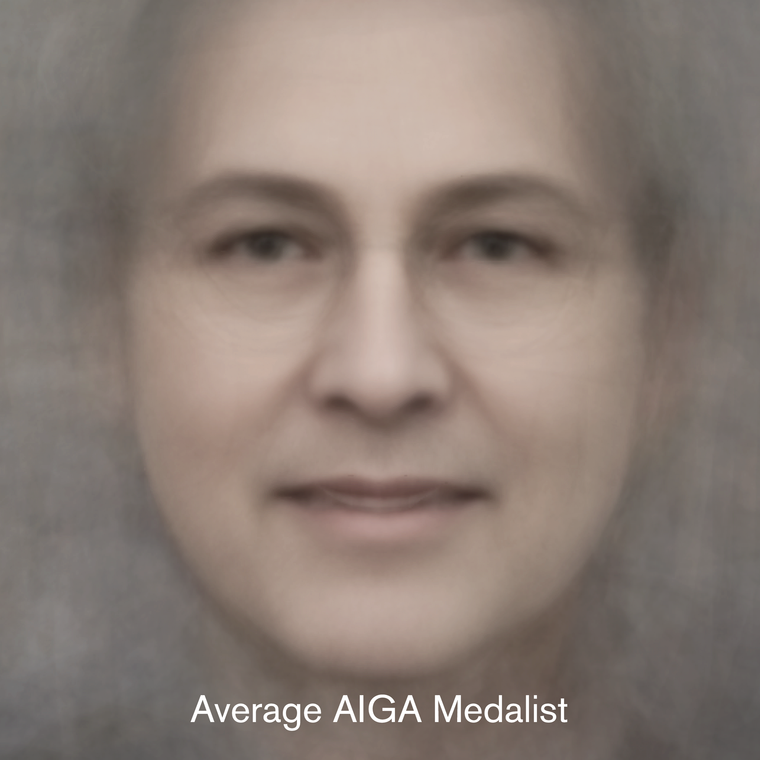 The source for this AIGA Average Medalist image is from AIGA.org on October of 2018. It uses 107 front facing images of medalists. 43 images were taken out due to low res/not front facing.