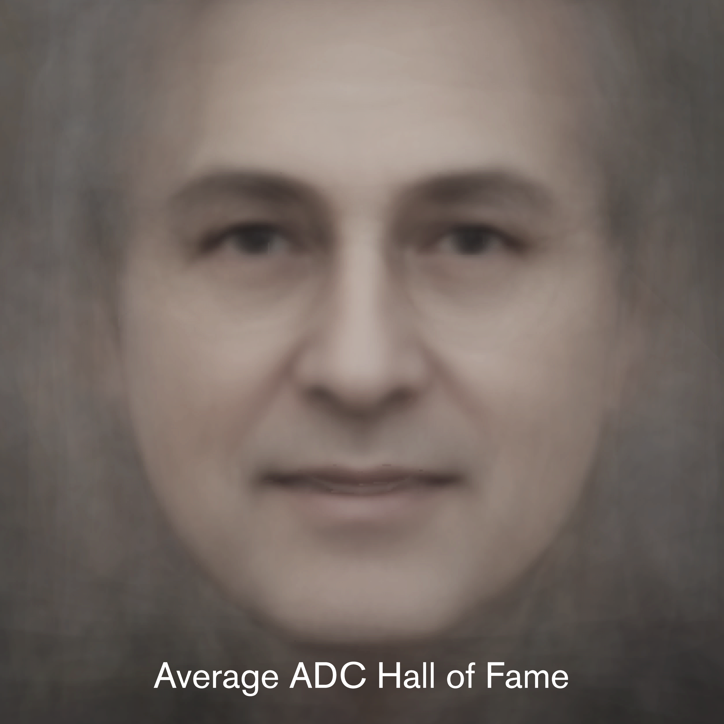 The source for this ADC Hall of Fame average image was pulled from http://adcglobal.org on October of 2018. It uses 118 front facing images from Hall of Fame. 51 images were not used due to low resoluttion or being being openCV compatible.