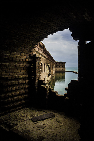 Fort Jefferson, the largest masonry structure in the Americas, offers countless opportunities to explore the interplay between light and shadow.