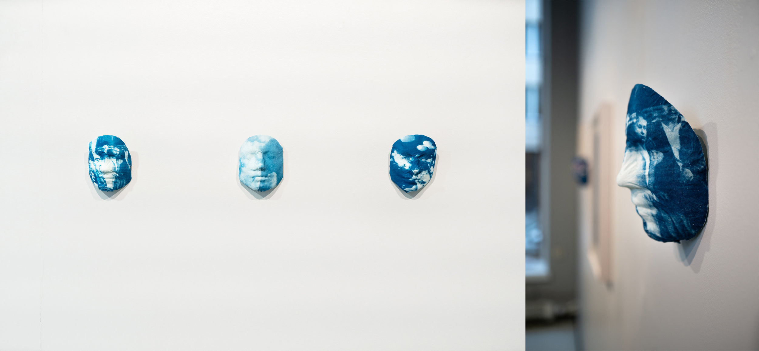 Trace  (25, 26 and 27), 2018  Cyanotype on fabric, 18,5x14x8cm