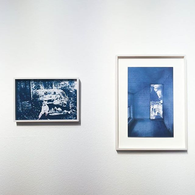 """Shot from Wiesbaden Photo Days!  My series Trace exhibited in Germany at the most wonderful museum #frauenmuseumwiesbaden ✨  Trace (21) 2018 Framed 36,5x25cm  Trace (14) 2017 Framed 40x54cm  In my series """"Trace,"""" my aim is to uncover different traces of memory; those expressing emotions, places or people.  My starting points are often daily notes, but it is power of imagination that matters.  With this work I use both cyanotype and digital collage combining archive materials and staged photography to tell stories that are clearly separate from our day to day reality.  #annihanen #wiesbadenerfototage #trace #jälki #cyanotype #blueprint #collages #collageart #alternativephotography #contemporaryartist #womanartist #selfportrait #photographyseries #identity #photographyart"""