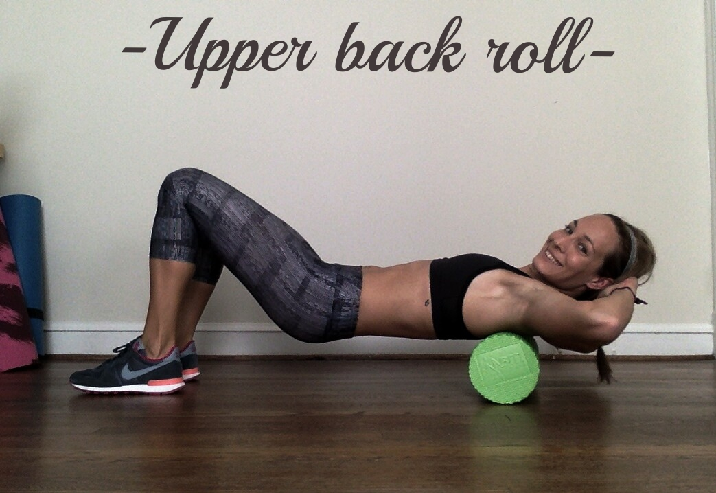 Place foam roller under your mid-back, at the bottom of your shoulder blades and roll forward, just a couple of inches, Then, roll back.