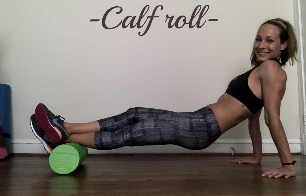 With foam roller under your ankle(s) roll your body forward until the roller reaches the back of your knee. Then, roll back and forth.