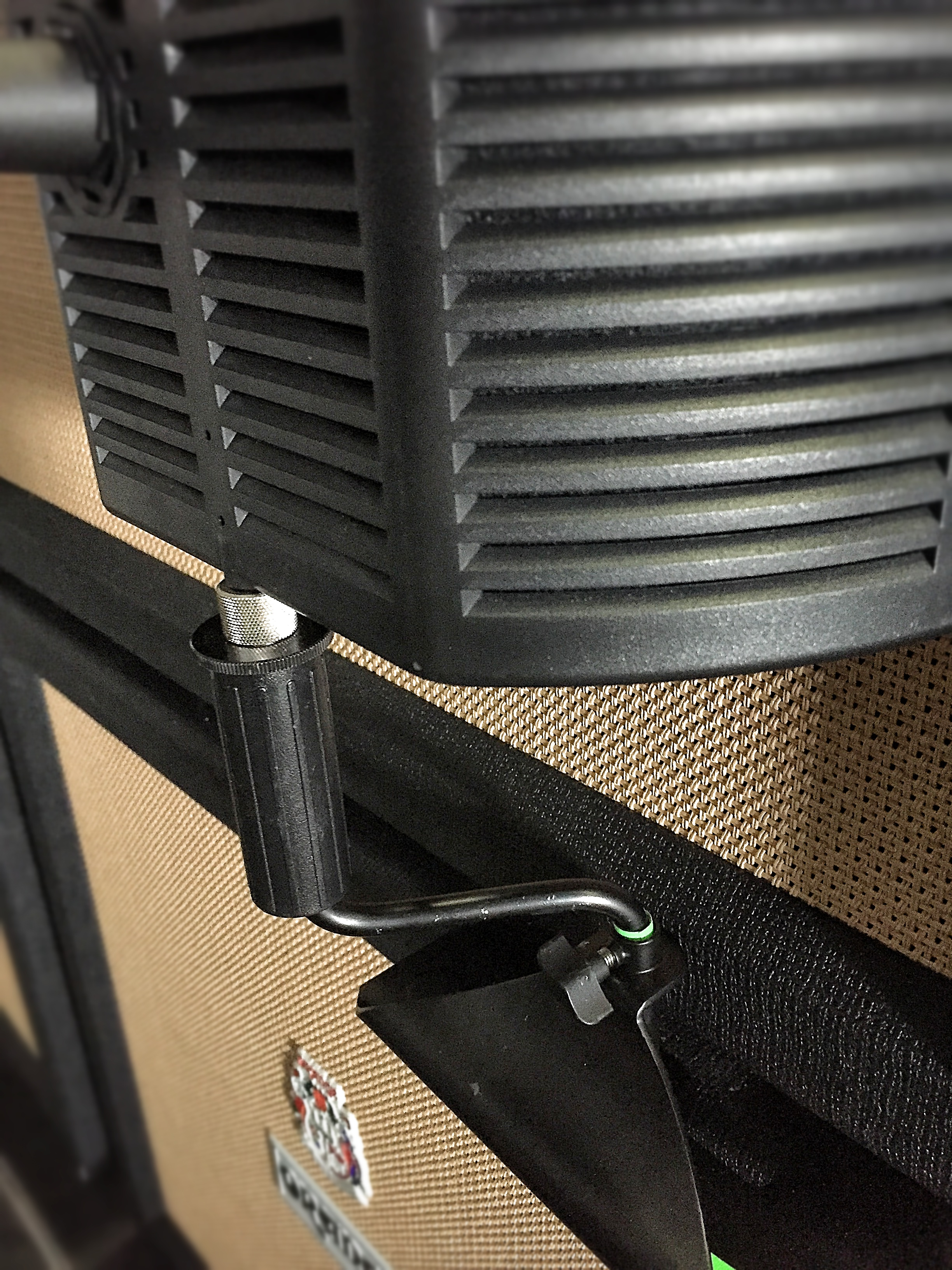 The guitaRF base fits between the cabinets, with an LP Claw used to extend the reach of the filter.