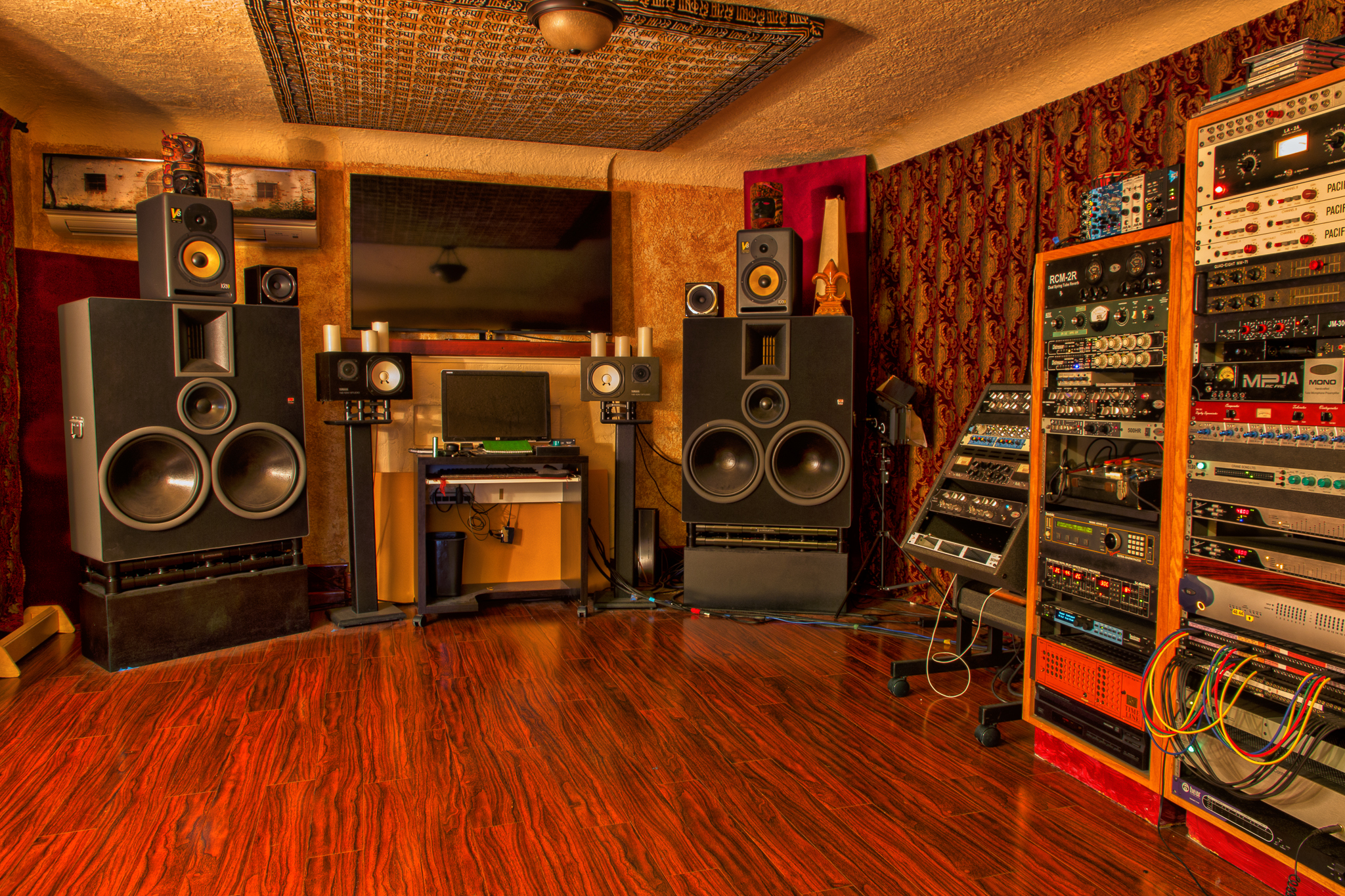 The control room at Ronan's Los Angeles-based studio.