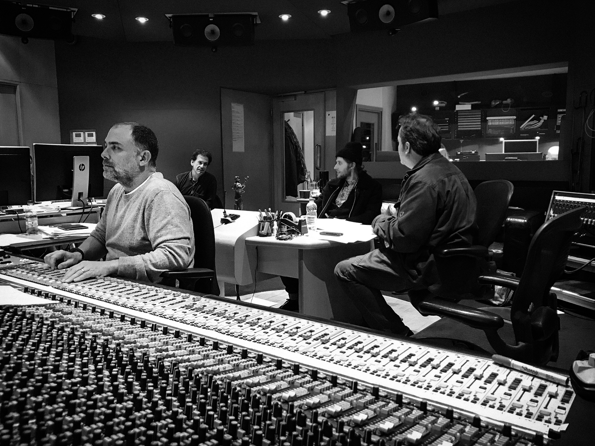 L to R: Chris Fogel, Score Recording & Mixing Engineer; Ron Webb, Music Editor; Ludwig Göransson, Composer; Steve Durkee, Marvel Score Supervisor. Photo credit: Joseph Shirley