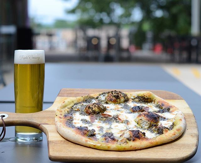 Smoked Mozzarella and Pesto is what we will have front and center for our pizza special this weekend. We highly recommend pairing this with a crisp pilsner.