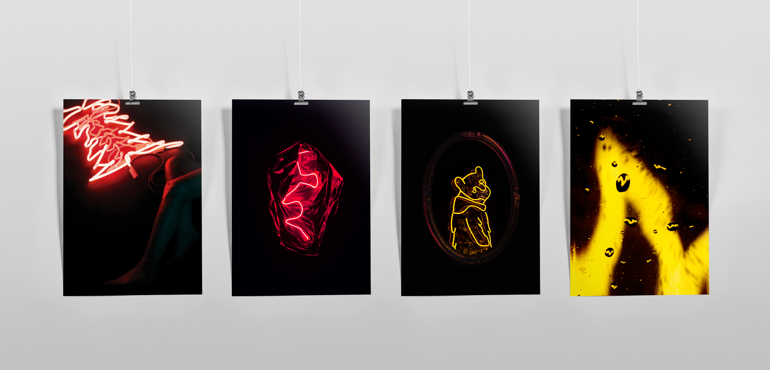 The four prints of each neon piece available for purchase at the show and online.  Shop here.